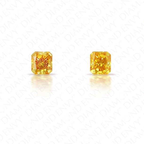 0.32 Total Carat Weight Radiant Cut Pair of Fancy Vivid Orangey Yellow Diamonds