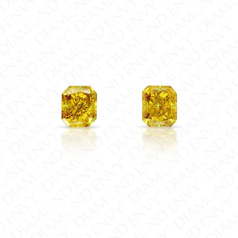 0.71 Total Carat Weight Radiant Cut Pair of Fancy Deep Brownish Orangey Yellow Diamonds