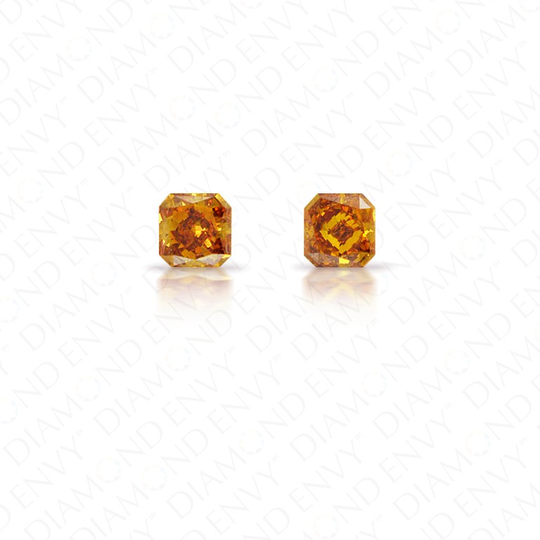 0.43 Total Carat Weight Radiant Cut Pair of Fancy Deep Brownish Yellowish Orange Diamonds