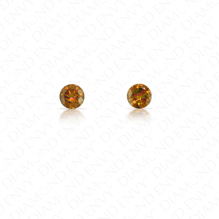 0.14 Total Carat Weight Round Brilliant Pair of Fancy Deep Brown Orange Diamonds