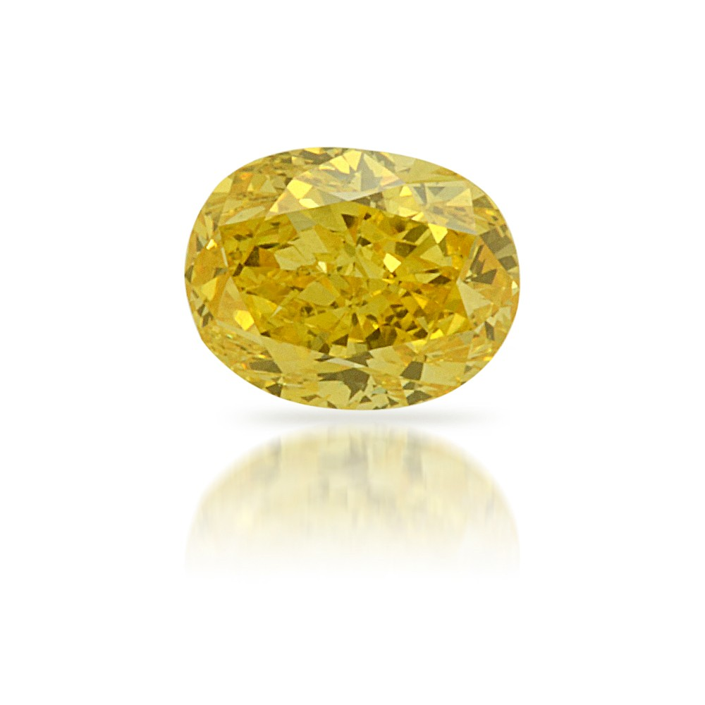 0.25 Carat VVS2 Oval Natural Fancy Vivid Yellow Diamond