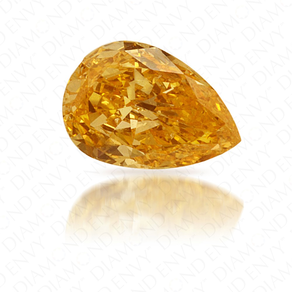 0.25 Carat Pear Shape Fancy Intense Yellow-Orange Diamond