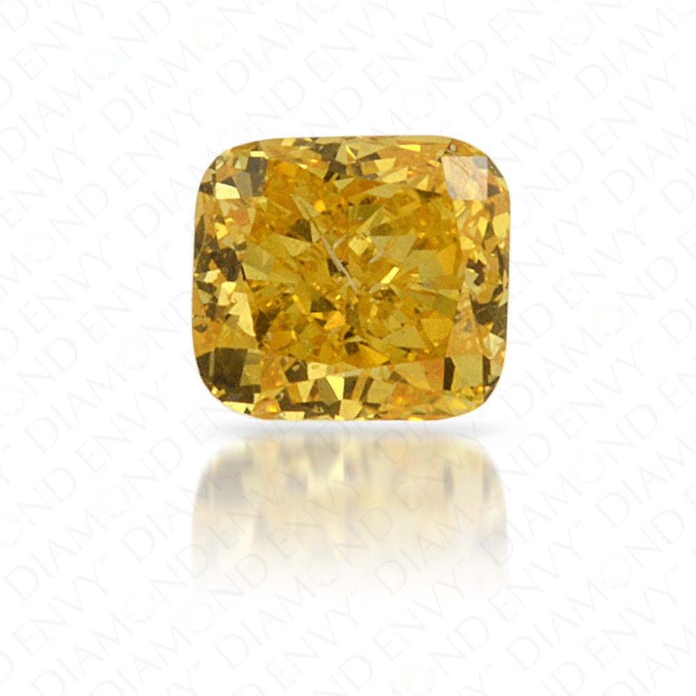 0.18 Carat Cushion Natural Fancy Vivid Orangy Yellow Diamond