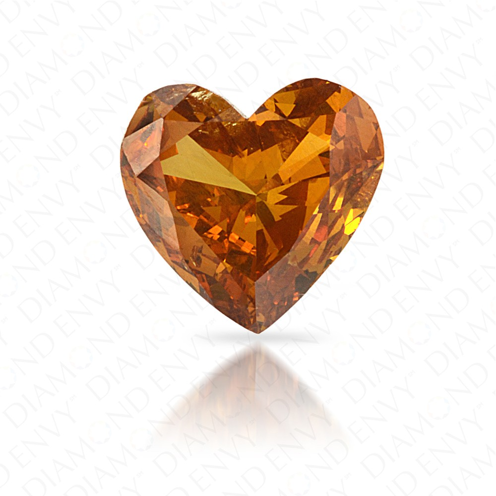 0.54 Carat Heart Shape Natural Fancy Deep Brownish Yellowish Orange Diamond