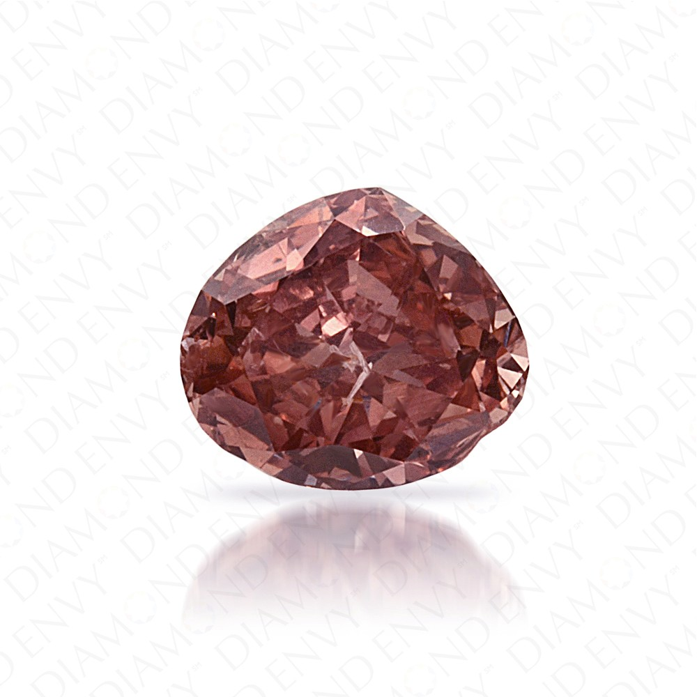 0.36 Carat Heart Shape Natural Fancy Deep Brownish Orangy Pink Diamond