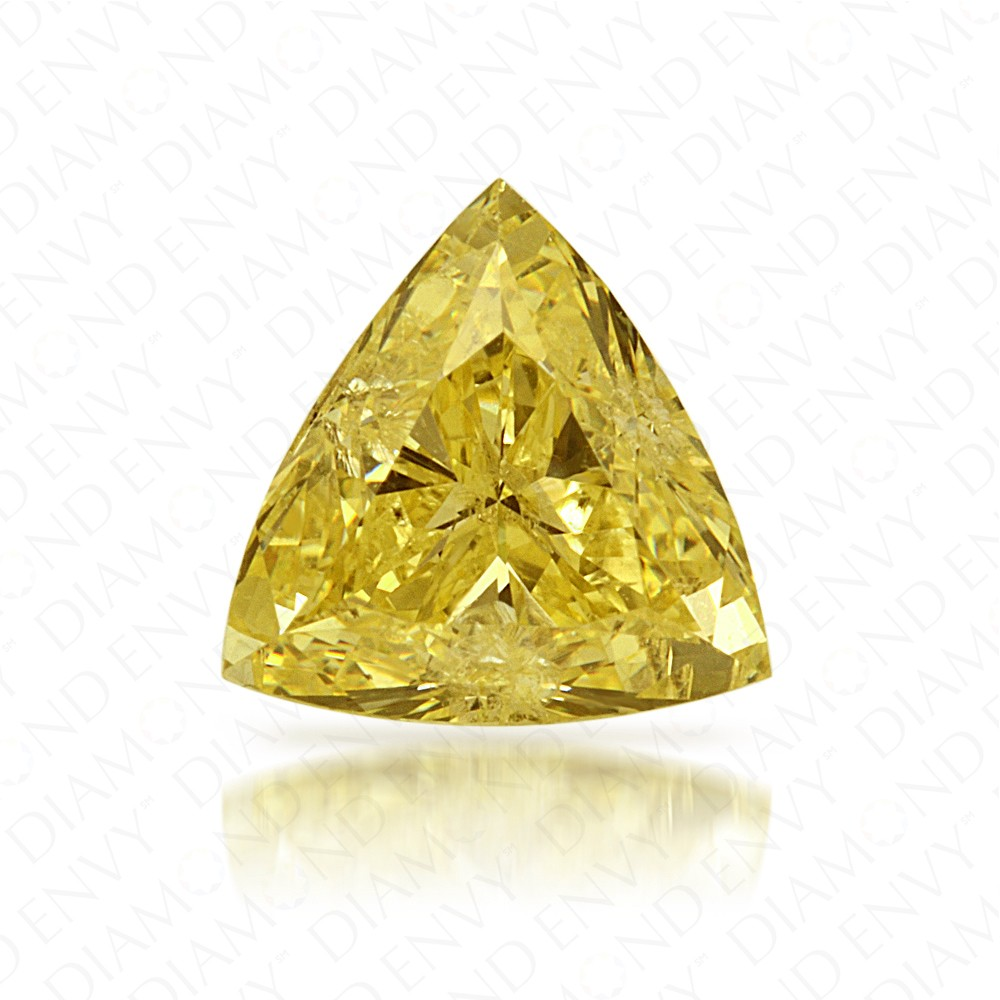 0.74 Carat Trillion Natural Fancy Intense Yellow Diamond