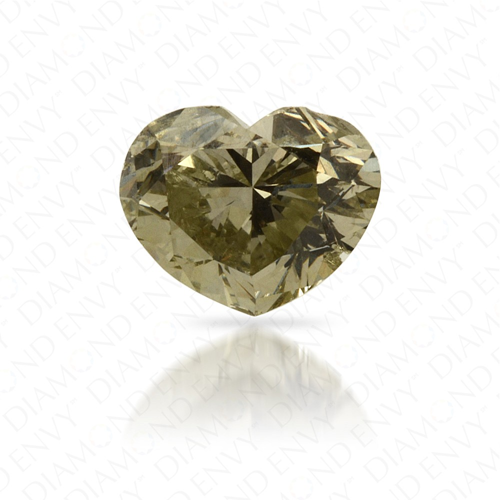 0.70 Carat Heart Shape Natural Fancy Grey-Yellowish Green Diamond