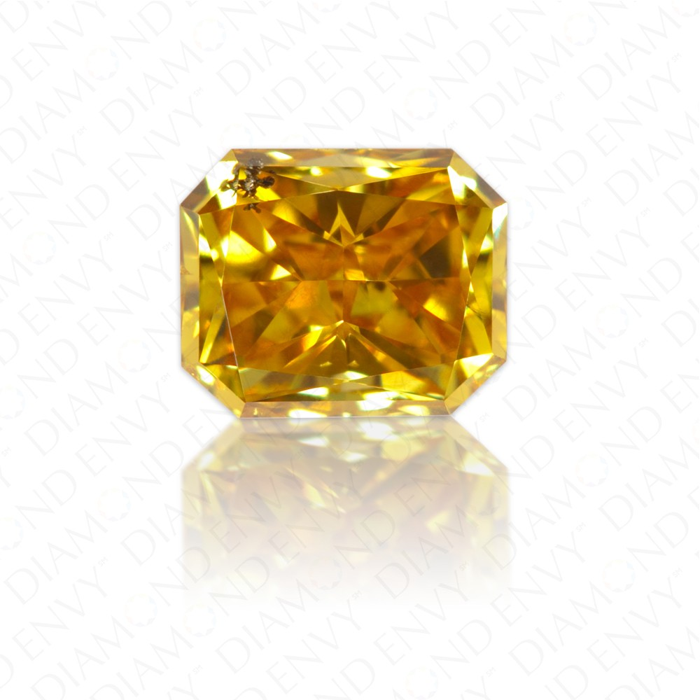 0.43 Carat Radiant Fancy Intense Orange Yellow Diamond