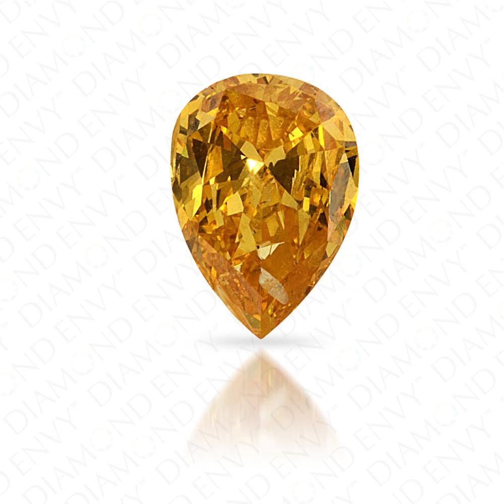 0.28 Carat Pear Shape Natural Fancy Vivid Orange-Yellow Diamond