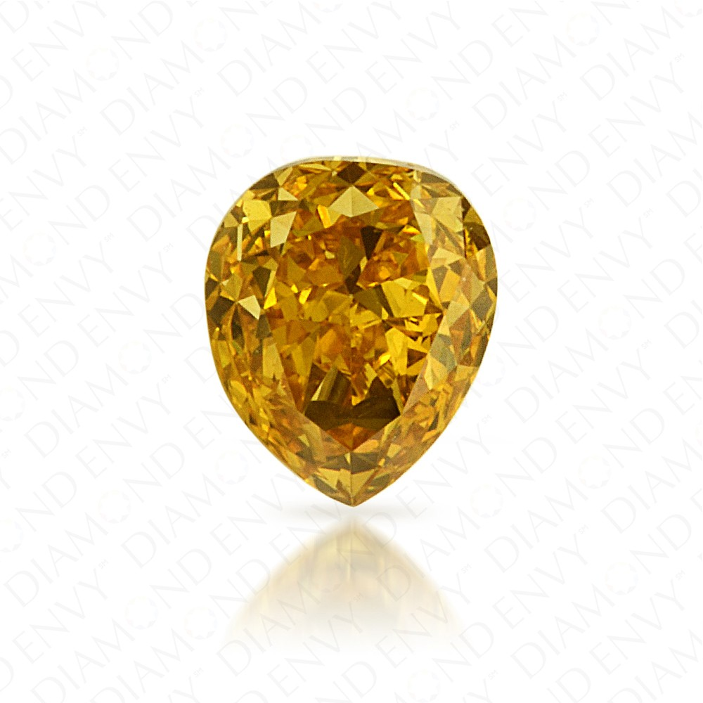 0.31 Carat VVS2 Pear Shape Natural Fancy Deep Yellow Diamond