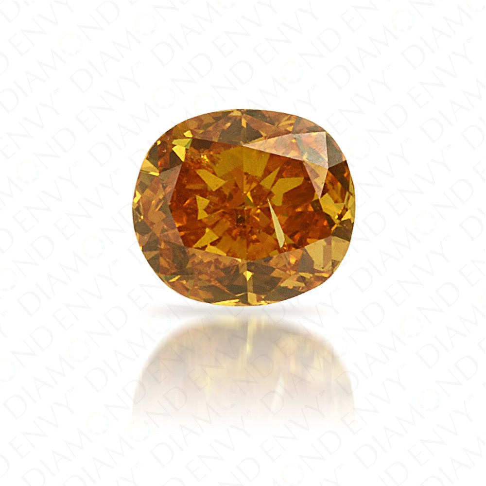 0.23 Carat Cushion Natural Fancy Intense Yellow-Orange Diamond