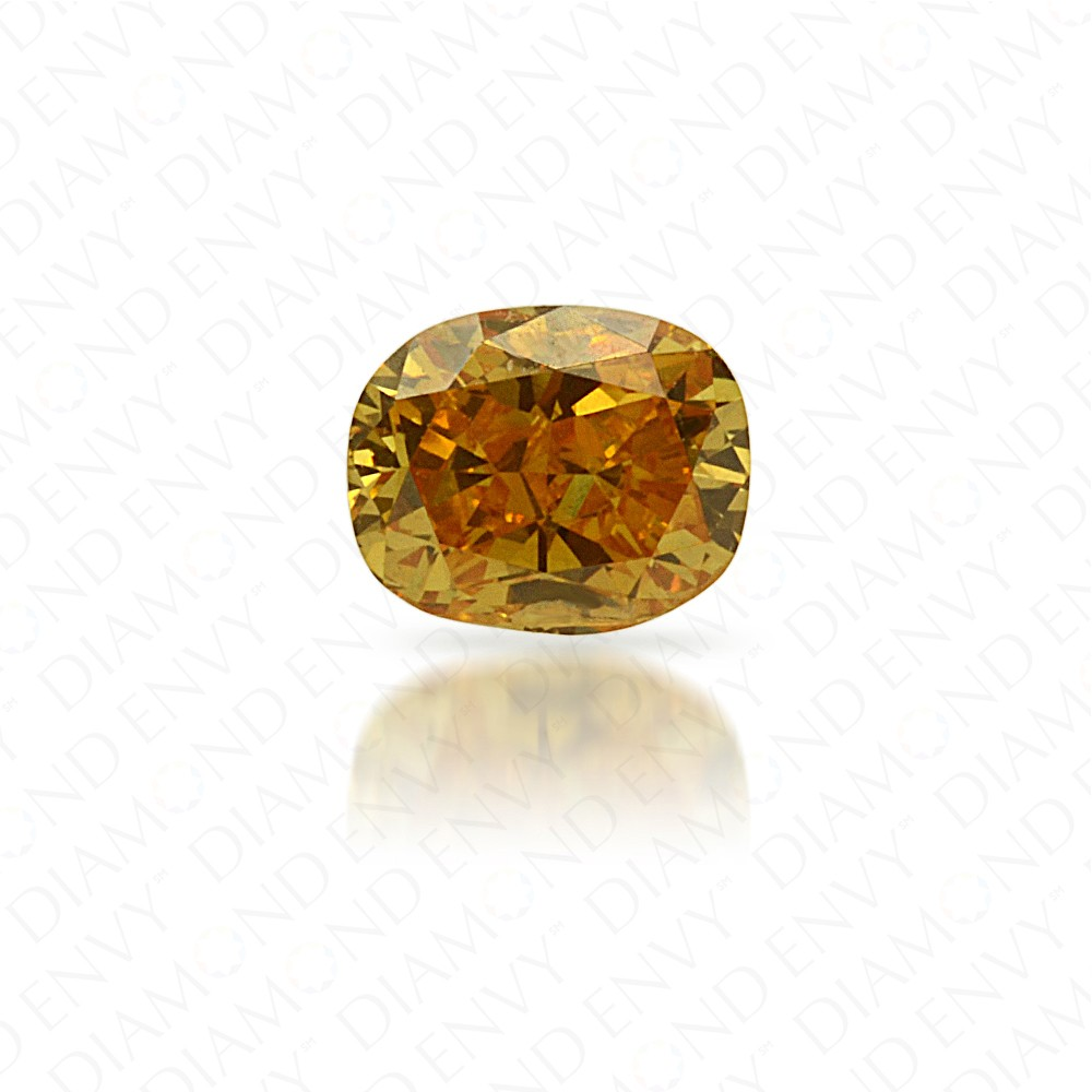 0.18 Carat Cushion Natural Fancy Intense Orange-Yellow Diamond