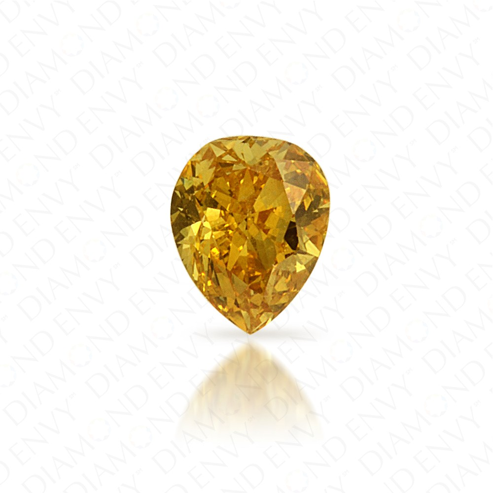 0.17 Carat Pear Shape Natural Fancy Deep Yellow Diamond