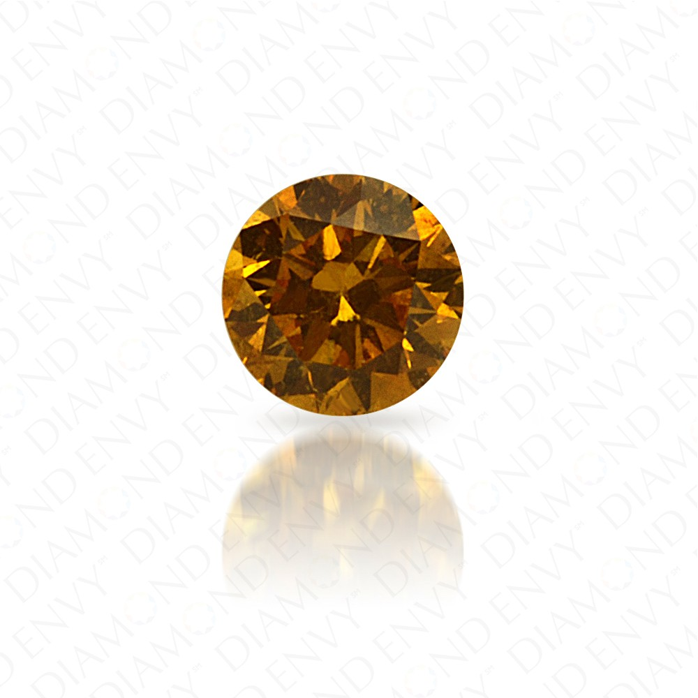 0.10 Carat Round Brilliant Natural Fancy Vivid Orange-Yellow Diamond