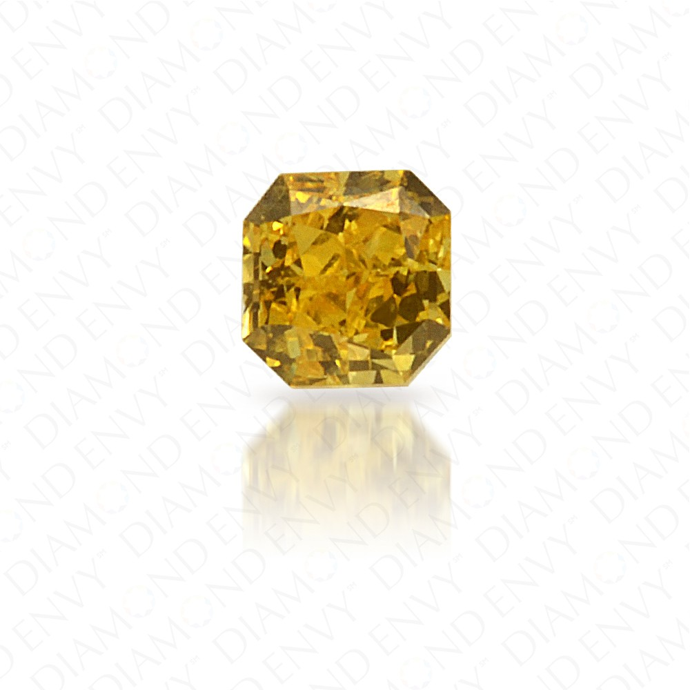 0.08 Carat Radiant Cut Natural Fancy Vivid Yellow Diamond