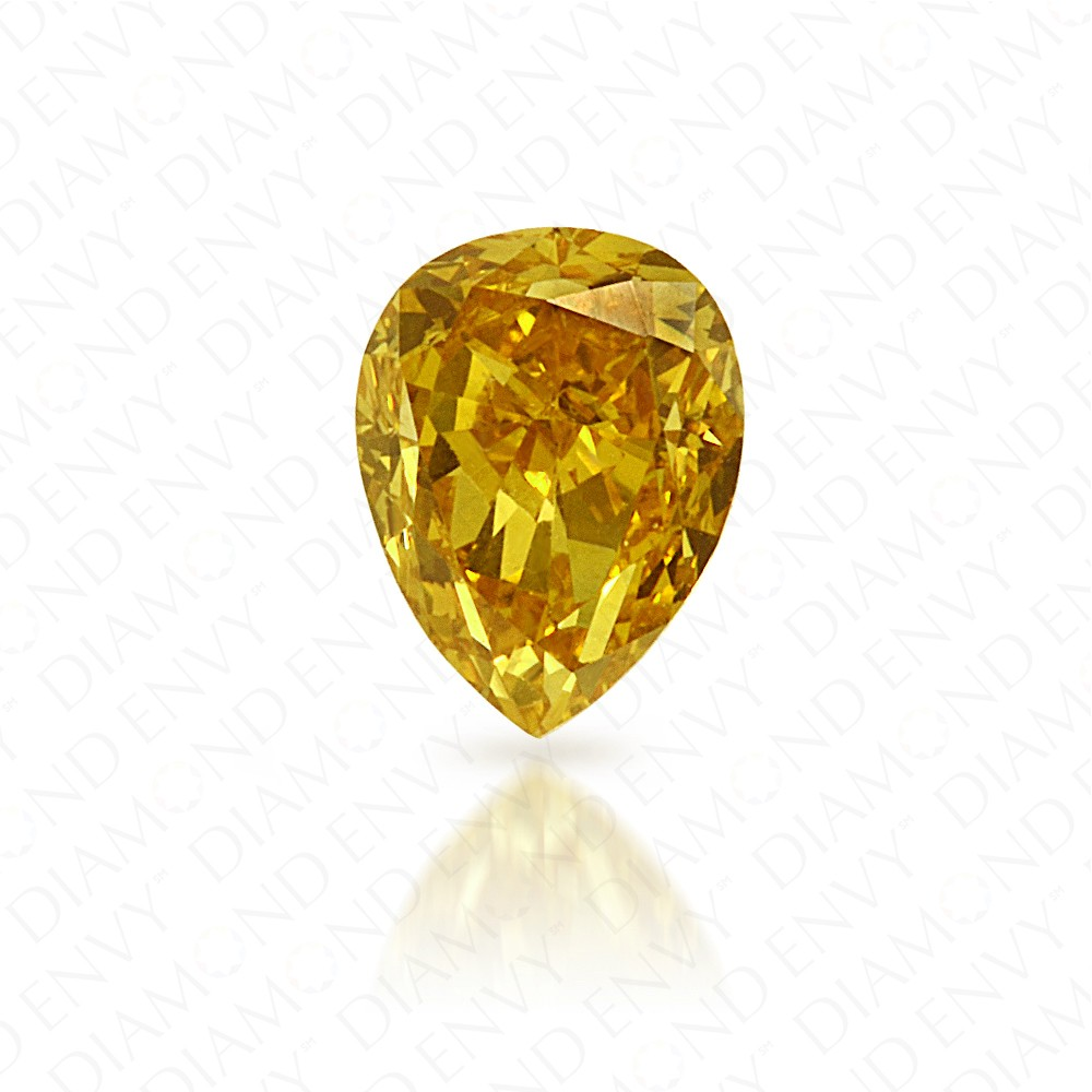 0.26 Carat Pear Shape Natural Fancy Deep Yellow Diamond