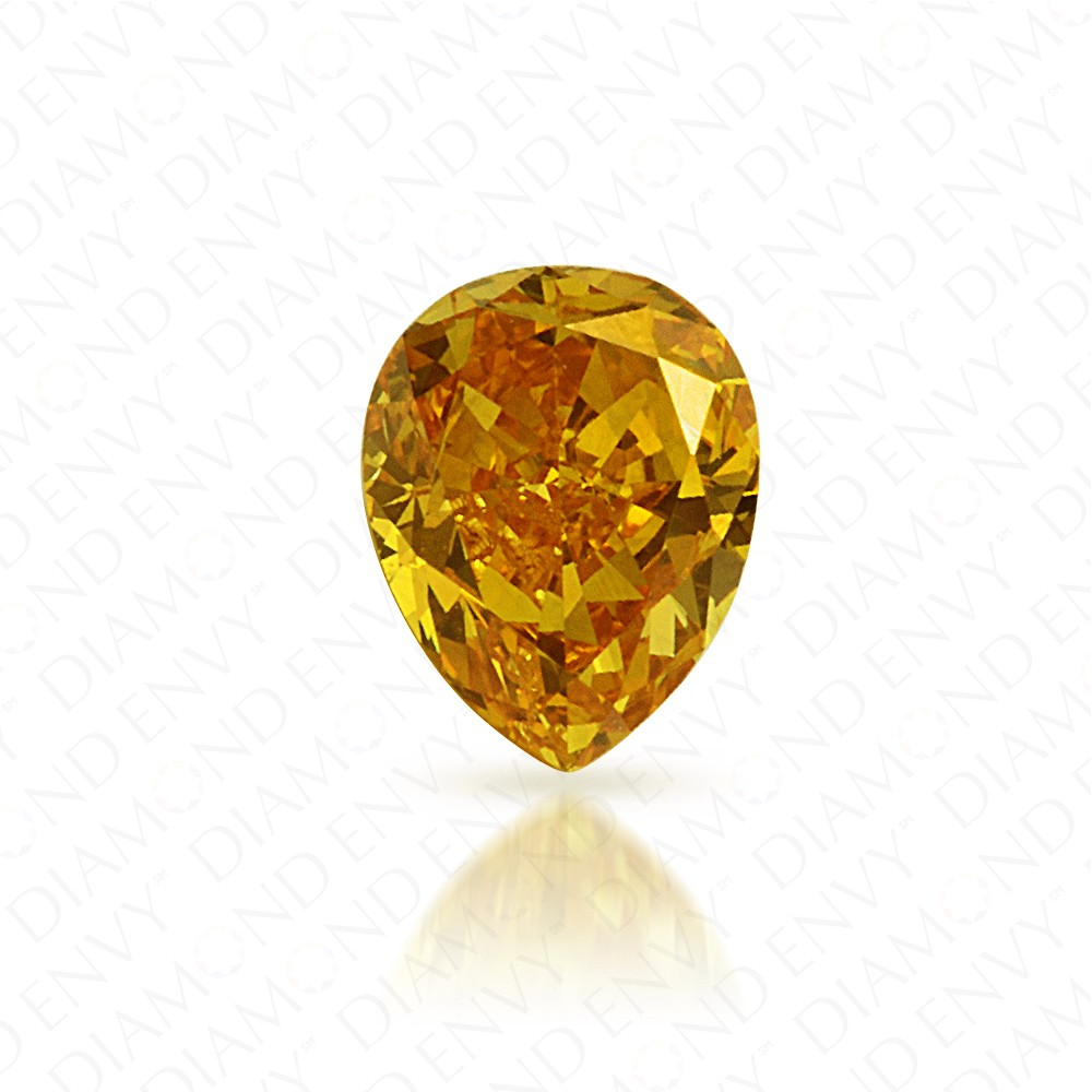 0.25 Carat Pear Shape Natural Fancy Vivid Yellow-Orange Diamond
