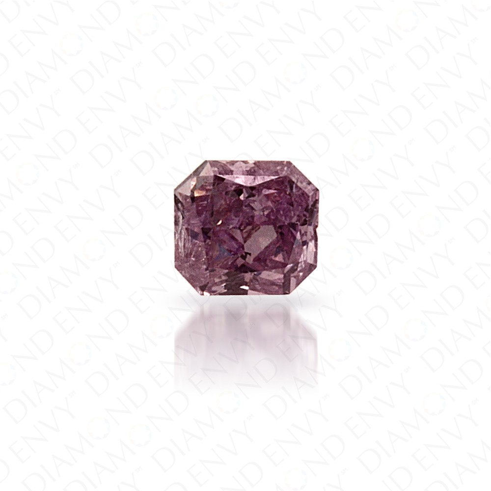 0.09 Carat Radiant Cut Natural Fancy Intense Pink-Purple Diamond