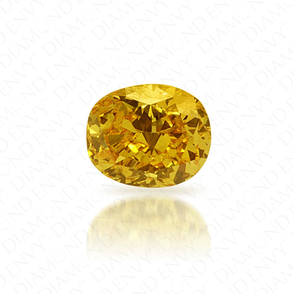 0.27 Carat Cushion Natural Fancy Vivid Orangy Yellow Diamond