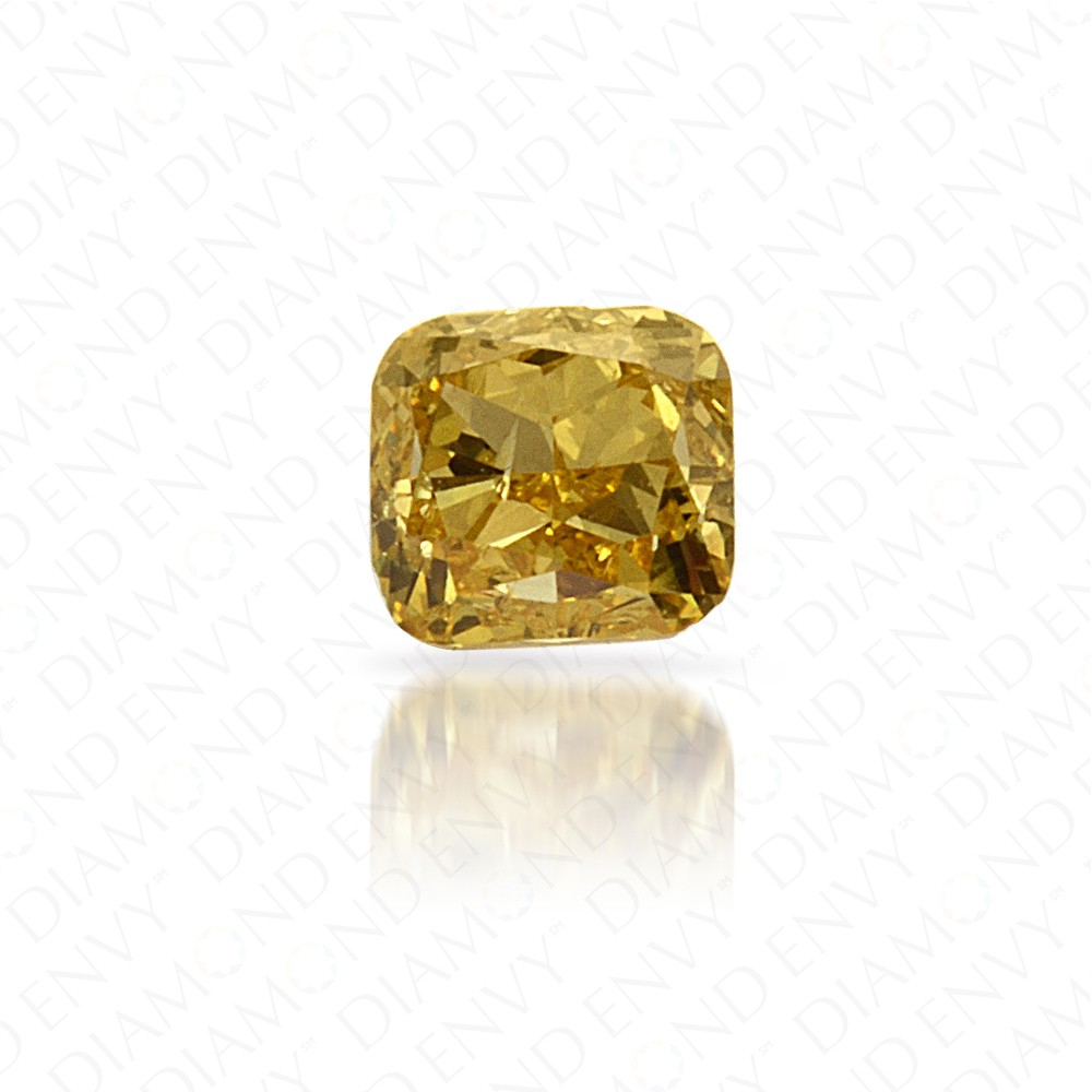 0.17 Carat Cushion Natural Fancy Intense Yellow Diamond