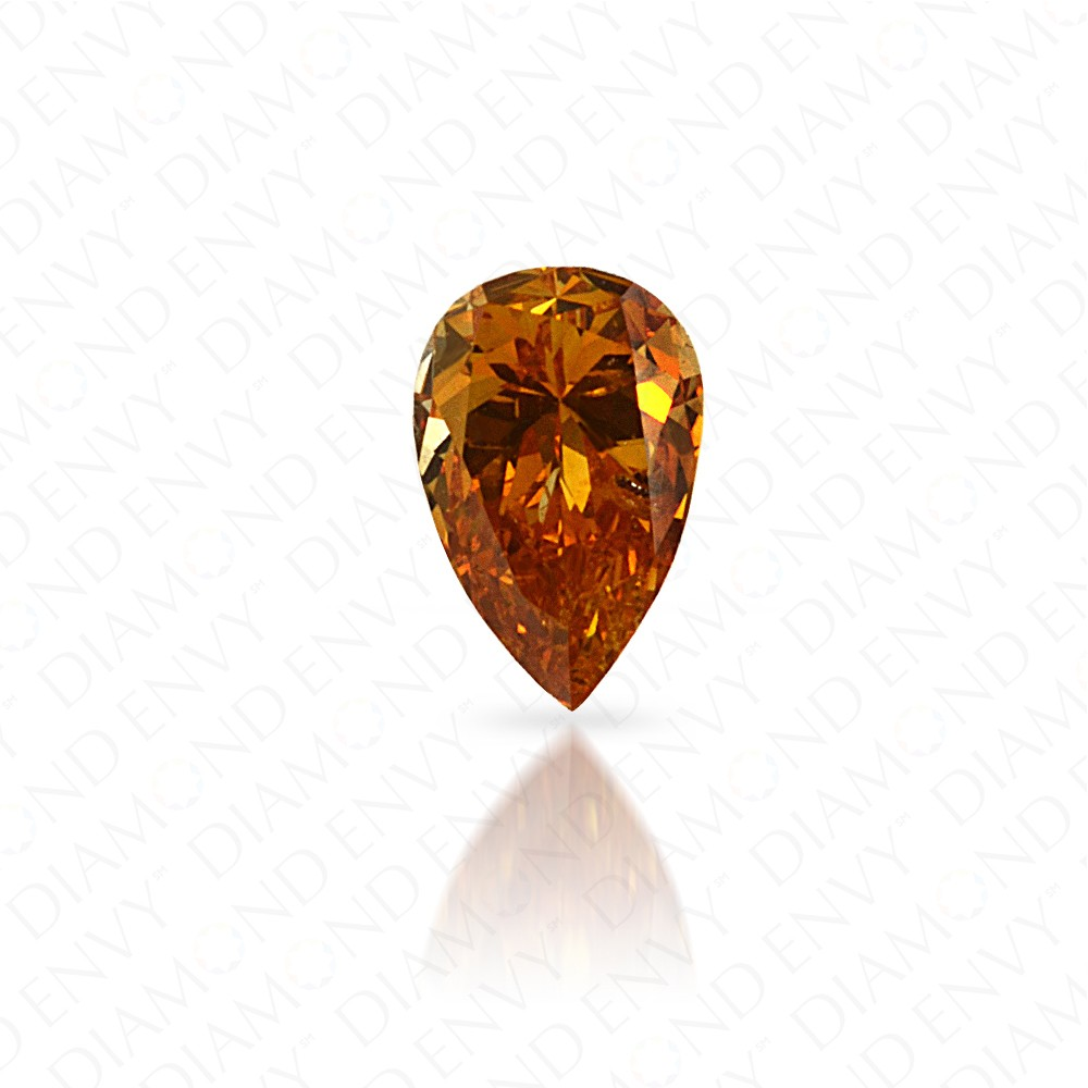 0.15 Carat Pear Shape Natural Fancy Intense Yellow-Orange Diamond
