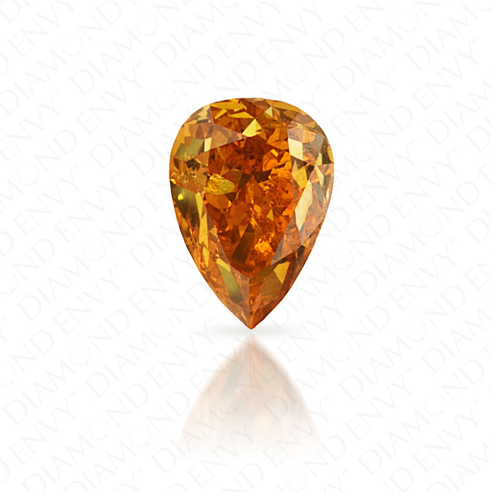 0.31 Carat Pear Shape Natural Fancy Vivid Yellow-Orange Diamond