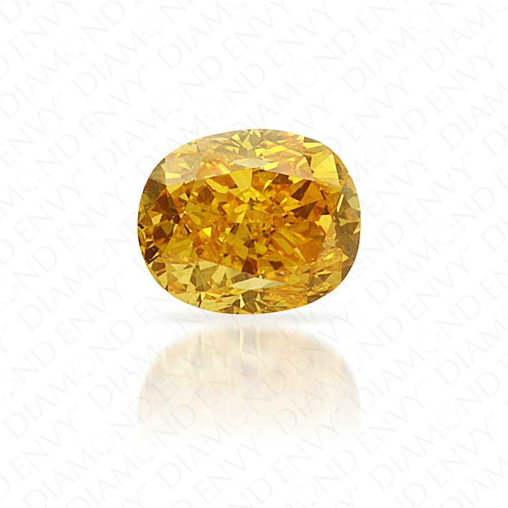 0.27 Carat Oval Natural Fancy Vivid Orangy Yellow Diamond