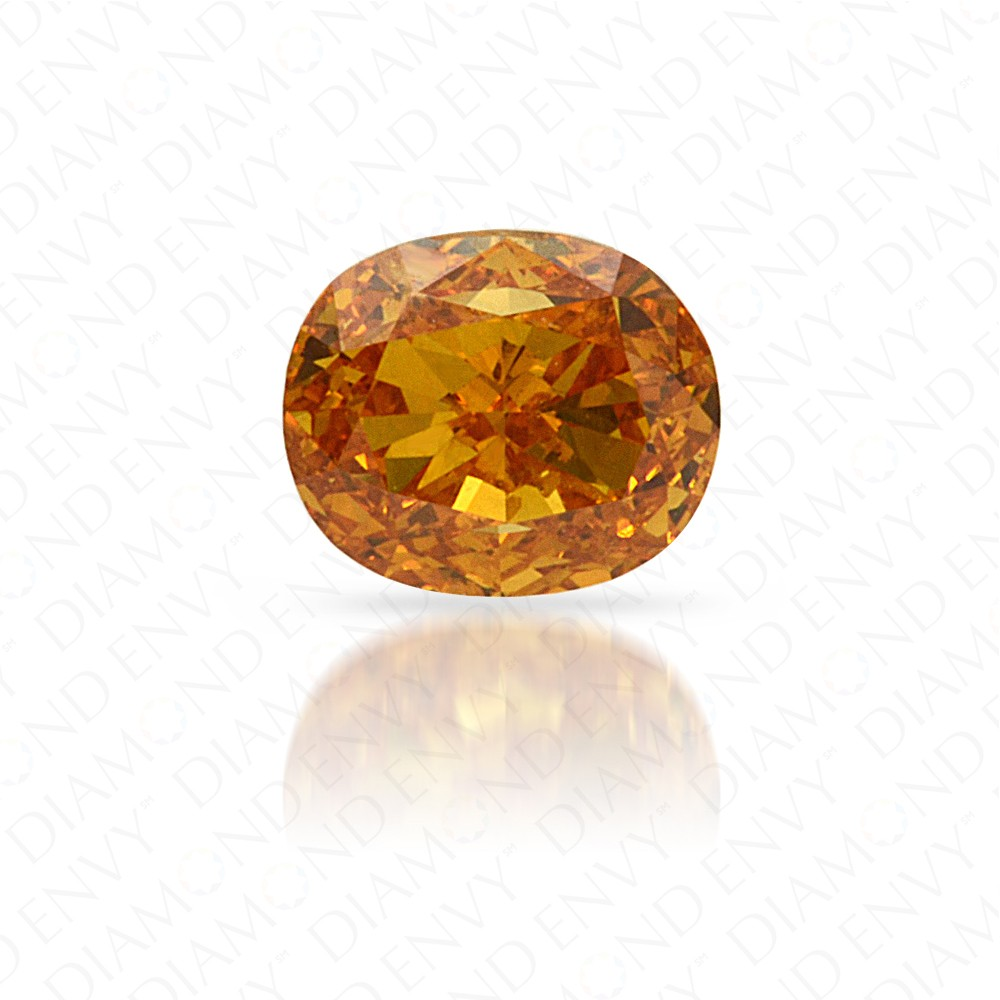 0.34 Carat Cushion Natural Fancy Vivid Yellow-Orange Diamond