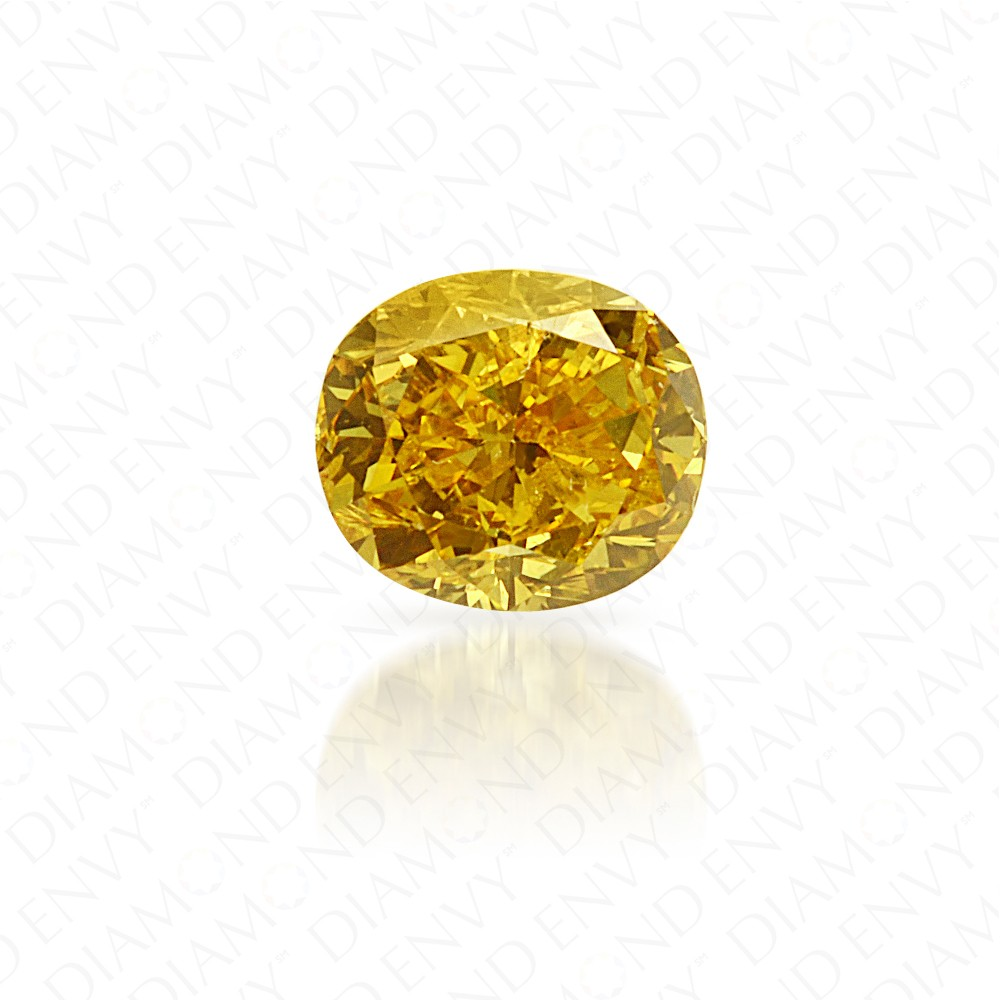 0.26 Carat Cushion Natural Fancy Deep Yellow Diamond