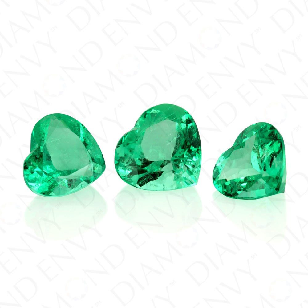 29.39 Carat Total Weight Trio of Natural Heart Shape Emeralds