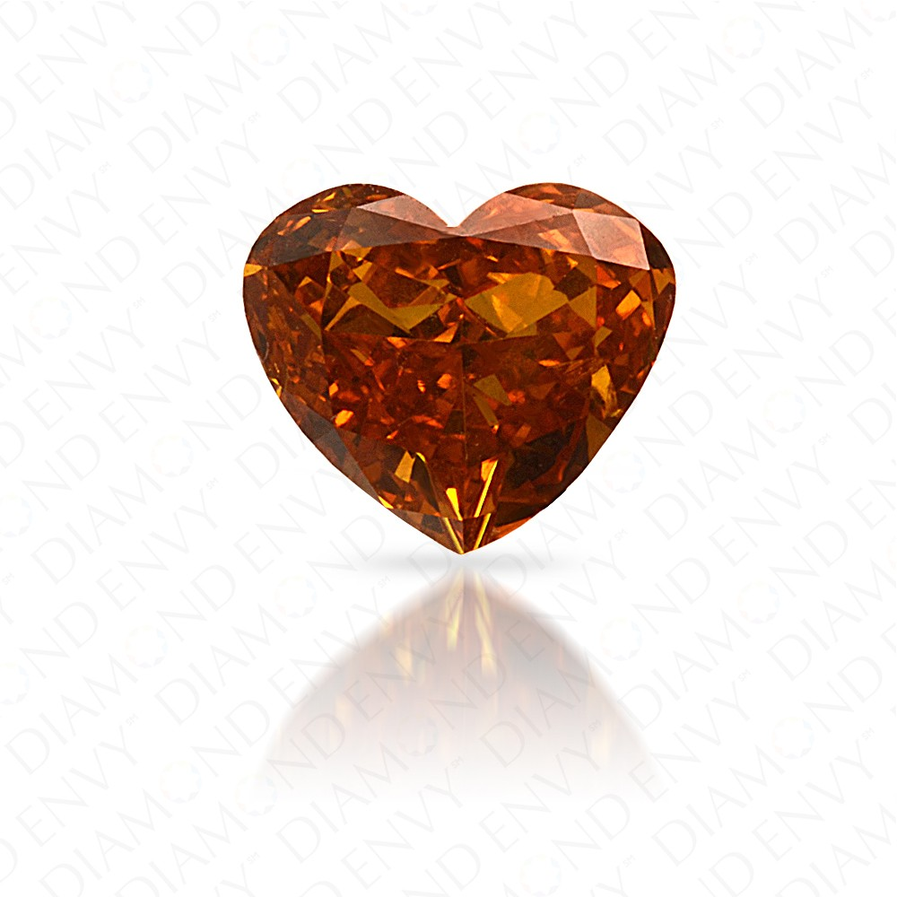 0.39 Carat Heart Shape Natural Fancy Deep Yellowish Orange Diamond