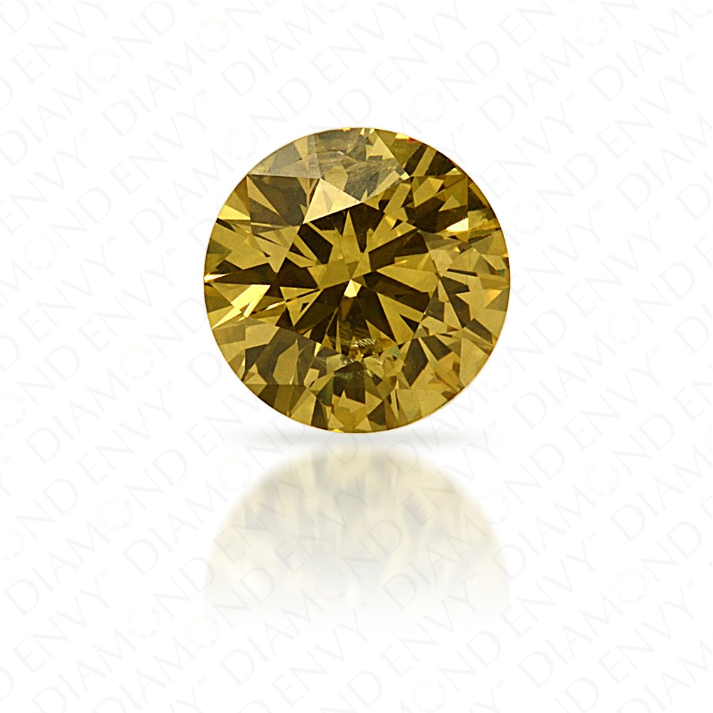 0.51 Carat Round Brilliant Fancy Deep Brownish Greenish Yellow Diamond