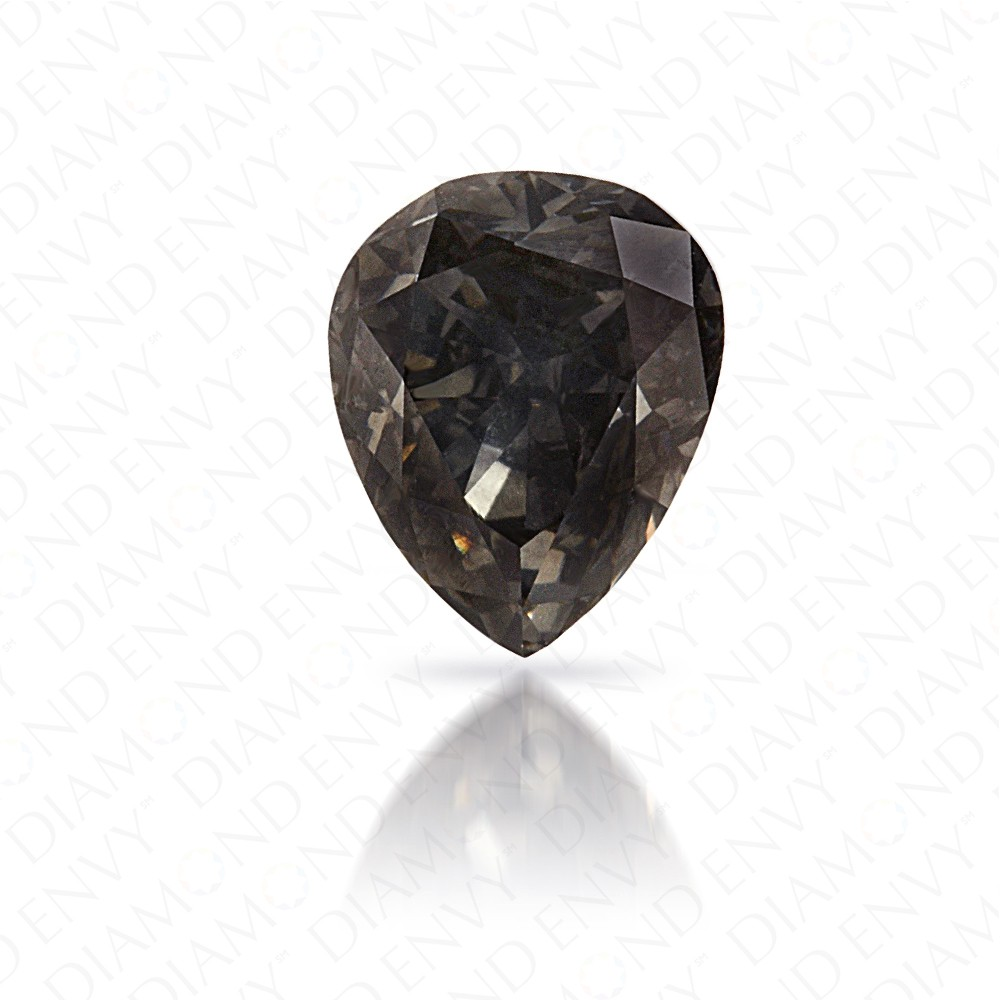 0.66 Carat Pear Shape Natural Fancy Dark Bluish Grey Diamond