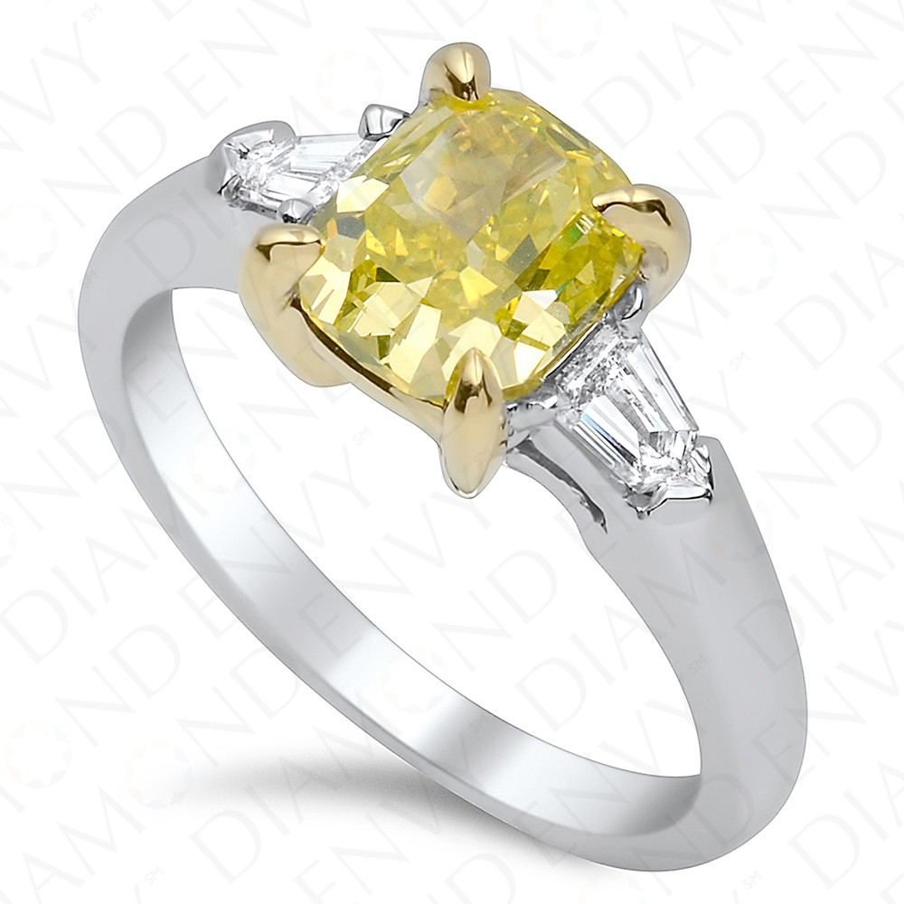 1.47 Carat Fancy Intense Greenish Yellow Diamond Ring in 18K White Gold
