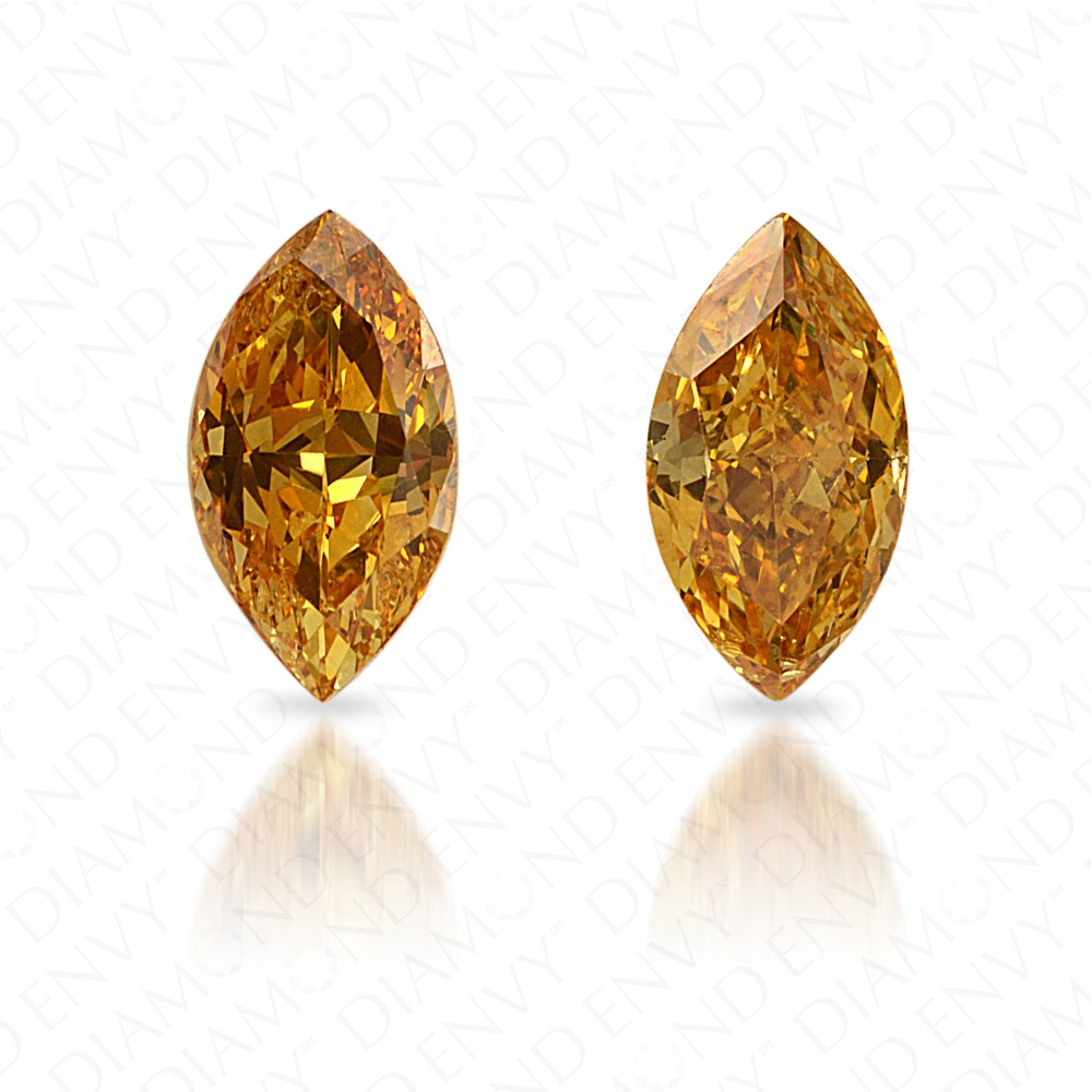 0.59 Total Carat Weight Marquise Shape Pair of Fancy Vivid Orangy Yellow Diamonds