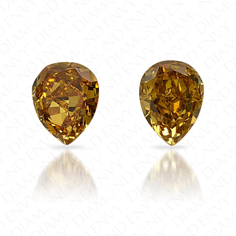 0.78 Total Carat Weight Pear-Shaped Pair of Fancy Vivid Brownish Greenish Yellow Diamonds