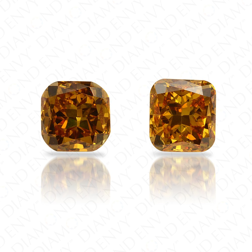 1.12 Total Carat Weight Cushion Cut Pair of Deep Brownish Orangy Yellow Diamonds