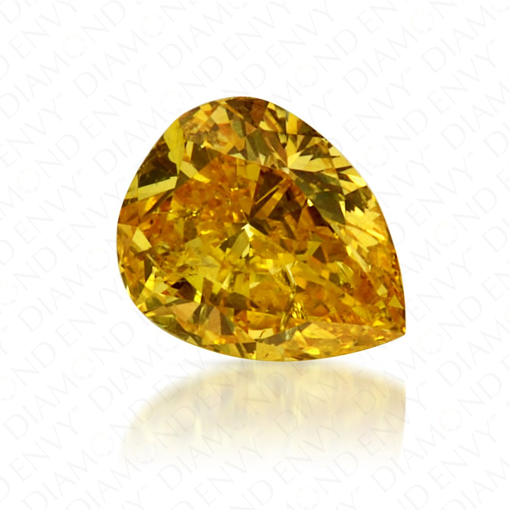 0.46 Carat Pear Shape Natural Fancy Vivid Yellow Diamond