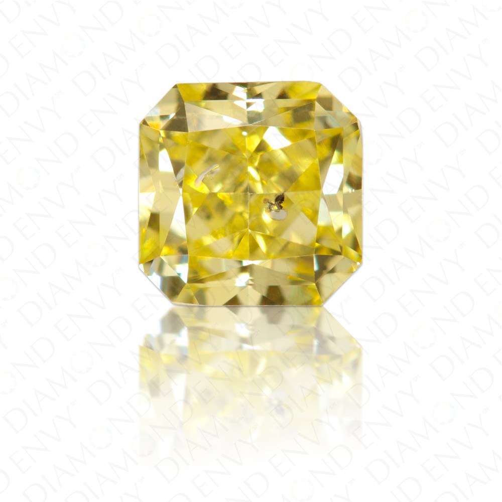 0.53 Carat Radiant Natural Fancy Intense Yellow Diamond