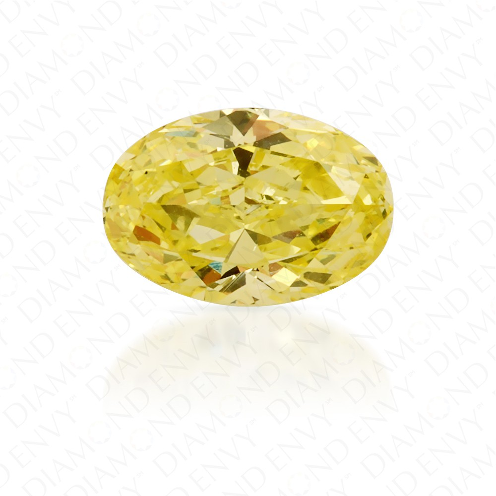 0.58 Carat Oval Natural Fancy Intense Yellow Diamond