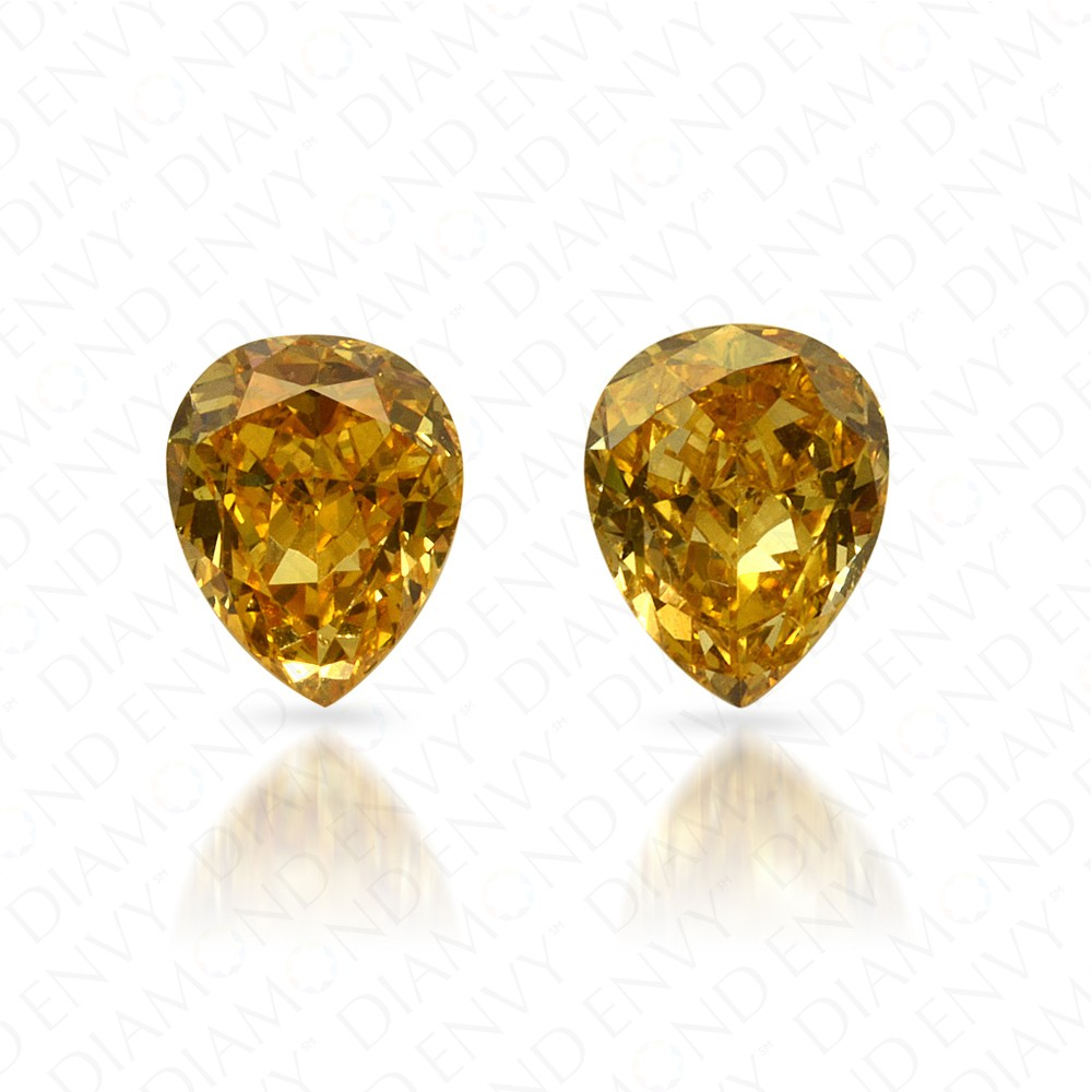 0.51 Total Carat Weight Pear-Shaped Pair of Fancy Vivid Orangy Yellow Diamonds