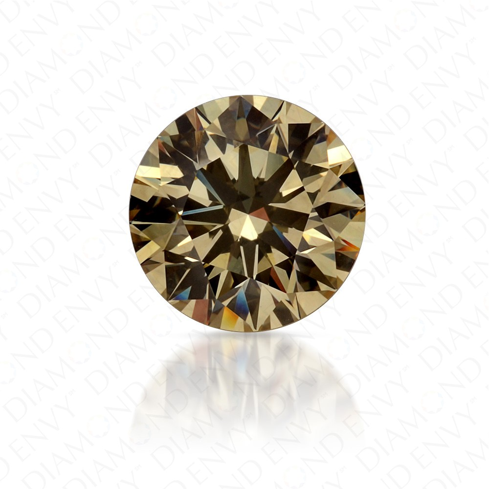 1.69 Carat VVS2 Round Brilliant Fancy Light Brownish Yellow Diamond