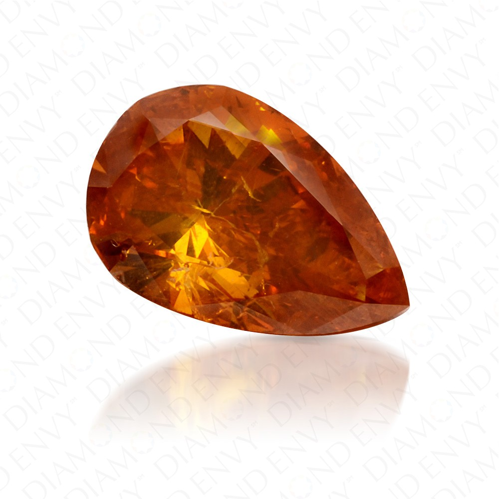 1.01 Carat Pear Shape Natural Fancy Deep Yellowish Orange Diamond