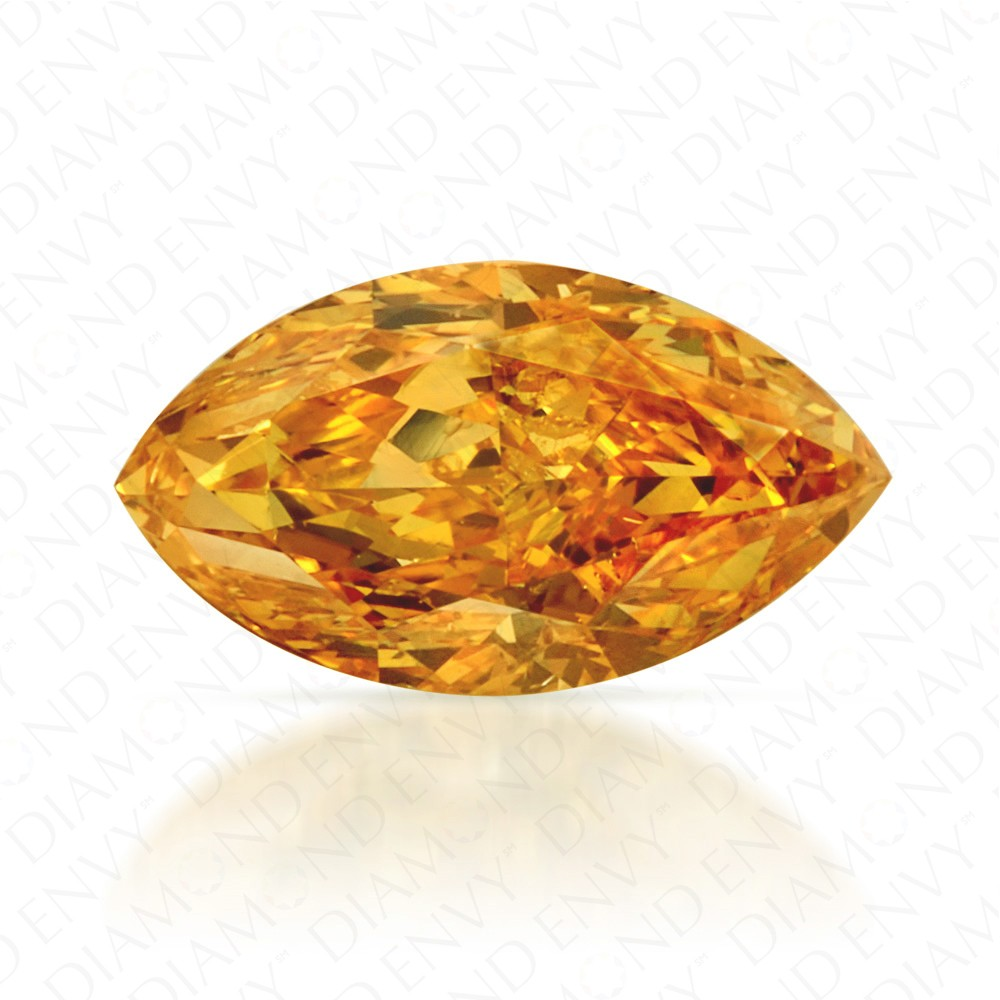 0.63 Carat Marquise Fancy Vivid Yellow-Orange Diamond