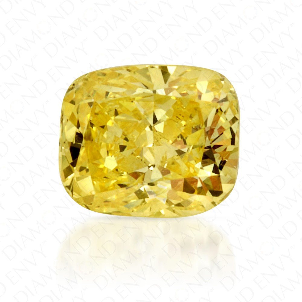 0.55 Carat Cushion Fancy Vivid Yellow Diamond