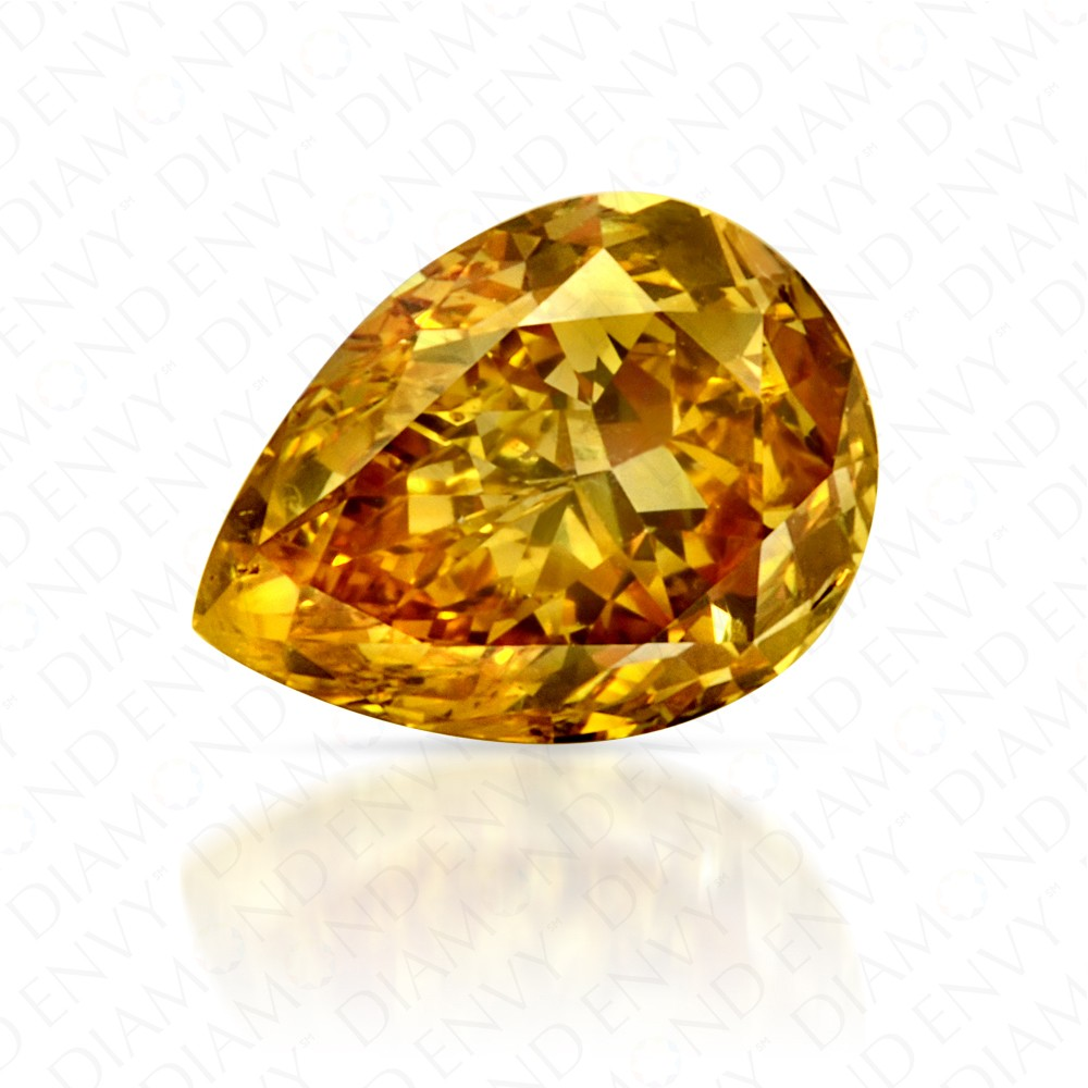 0.71 Carat Pear Shape Fancy Deep Yellow Diamond