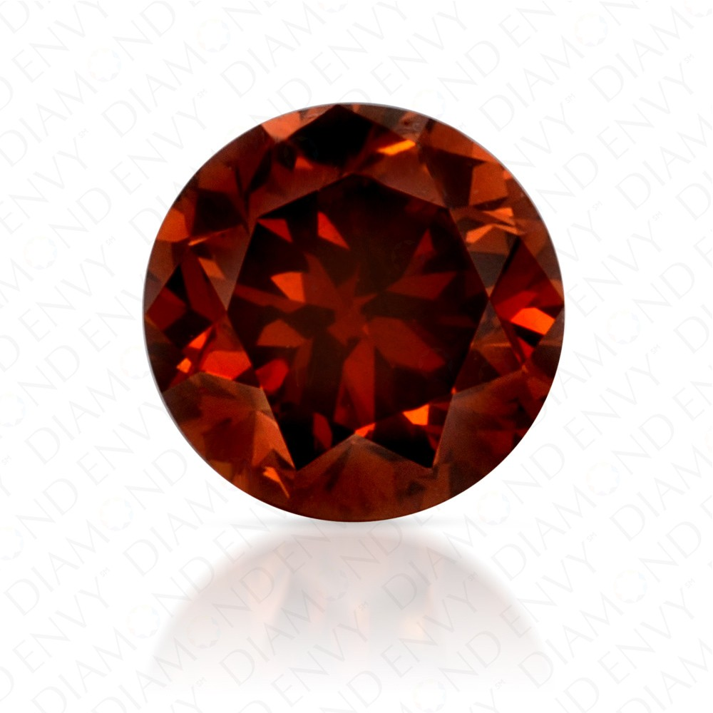 0.46 Carat Round Brilliant Natural Fancy Deep Brownish Orange Diamond