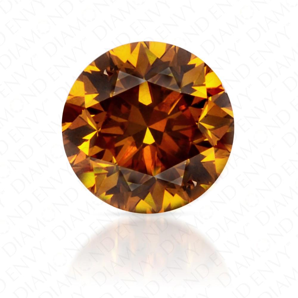 0.50 Carat Round Brilliant Fancy Deep Yellow Orange Diamond