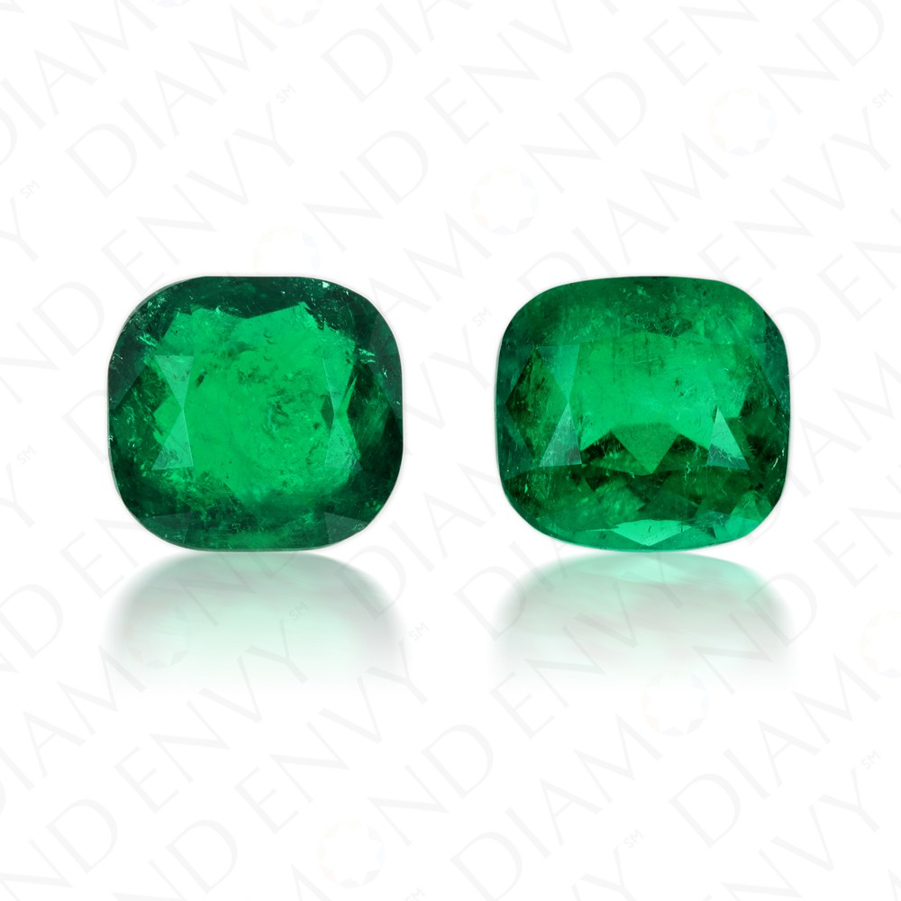 6.64 Carat Total Weight Pair of Natural Cushion Cut Emeralds