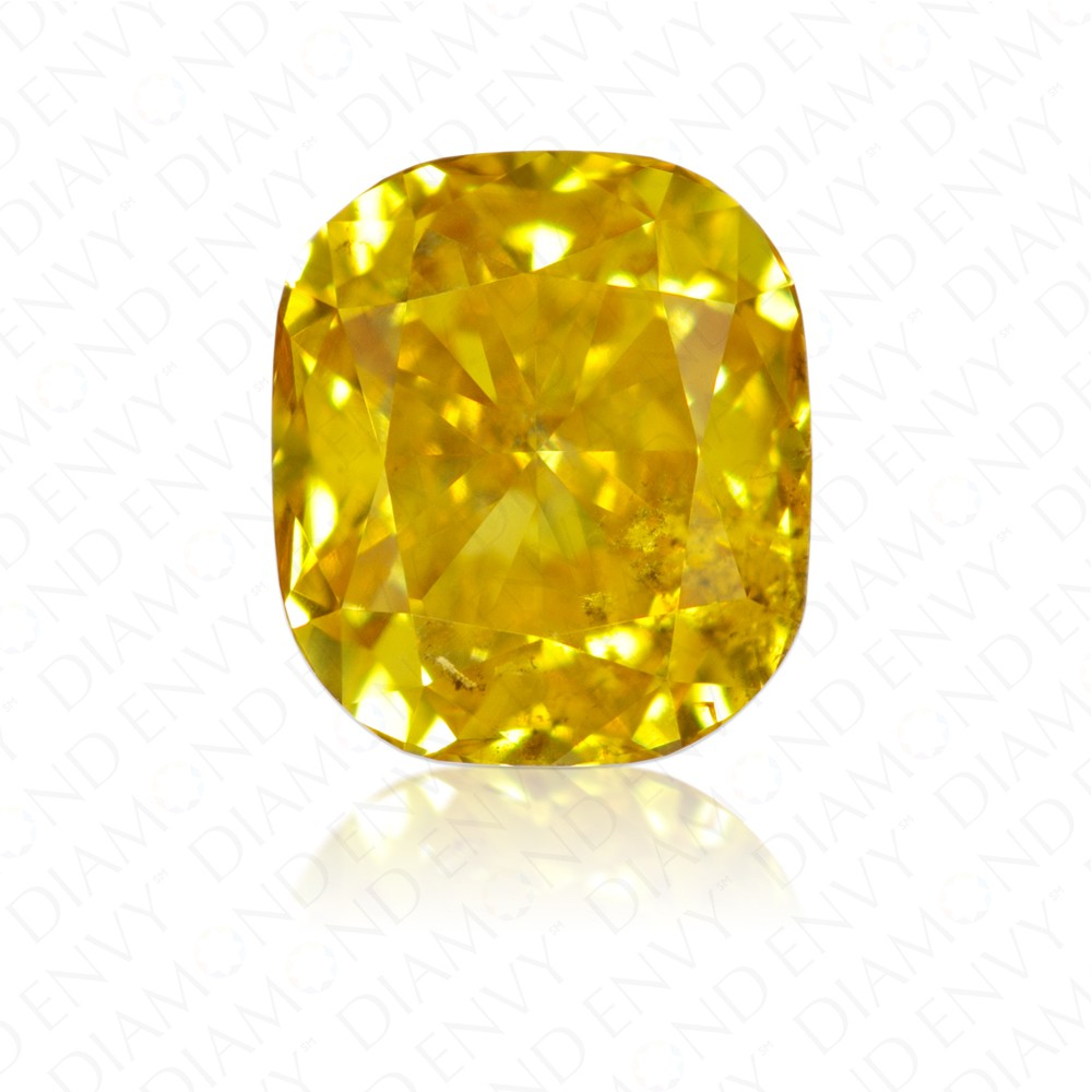 0.43 Carat Cushion Fancy Deep Yellow Diamond